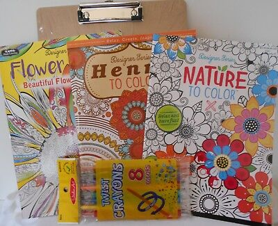 3 Kappa Coloring Books Set Nature Flower Power Henna With Clip Board & Crayons
