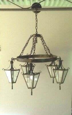 Chandelier Antique Brass 5 Light Lantern Band Ring Castle Gothic Colonial Rustic