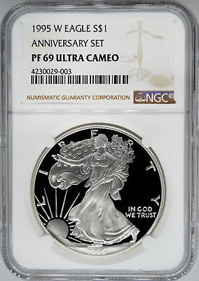 1995-W NGC PF69 UCAM Proof Silver Eagle - KEY PR69 Ultra Cameo Coin!