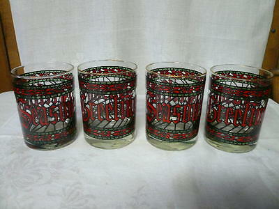 Four (4) Vintage Christmas Glass Tumblers Seasons Greetings Stained Glass Look