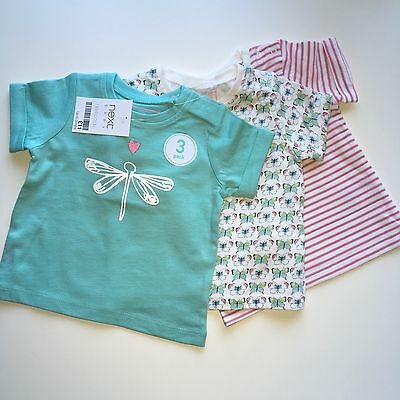 💝 Baby Girls Next 3X T-Shirt Pack, 0-3 Mths, Nwt, Ideal New Baby/ Summer Tops💝