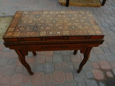 Antique Syrian Inlaid Swivel Top Folding Games Gaming Table