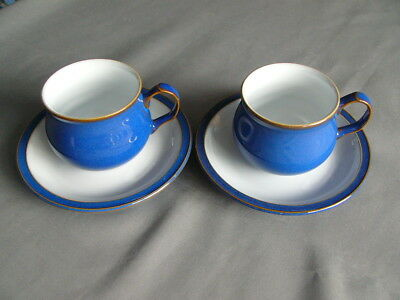 Pair of Denby Imperial Blue Cups and Saucers