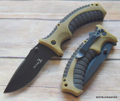 8.5 Inch Elk Ridge Spring Assisted Tactical Knife With  Pocket Clip