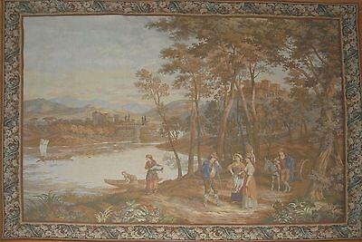 """HUGE Antique / vintage French Wall Hanging Tapestry Country Scene 83"""" x 65"""""""