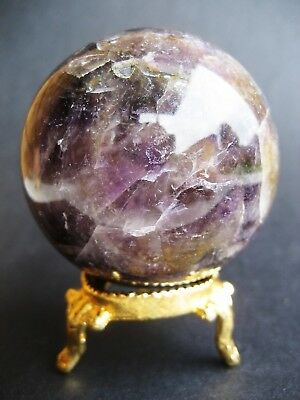 Amethyst 5.5cm 214g Crystal Ball Orb Sphere on Gold Metal Stand A006