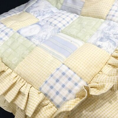 New 3 pc BELLINI Boutique Baby Crib Bedding Set French Yellow BLUE Green Toile