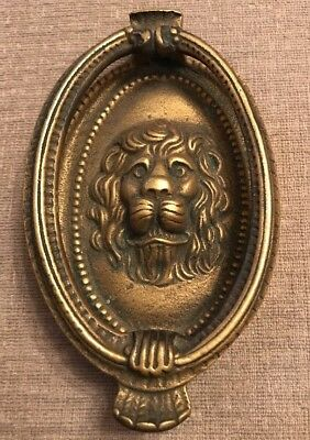 Lions Head Front Door Knocker Solid Brass Vintage Architectural Period