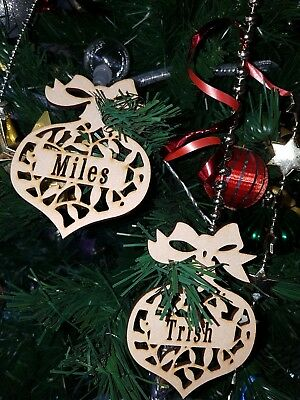 Personalized Xmas Custom cut MDF Timber Wooden Baubles / Christmas Decorations.