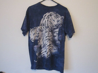 "Adult's Size Large (41"" Chest) T-Shirt Blue Tie-Dye w/2 White Tigers w/Blue Eyes"