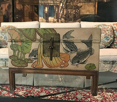 Vintage Chinoiserie Leather Oriental Box Chest On Stand, Hardware, Koi Fish Pond