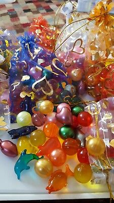 BATH OIL PEARL BEADS IN ORGANZA GIFT BAG x 30 Mixed Shapes
