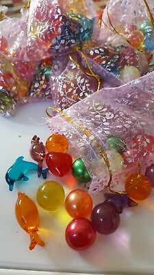 BATH OIL PEARL BEADS IN ORGANZA GIFT BAG x 20 Mixed Shapes