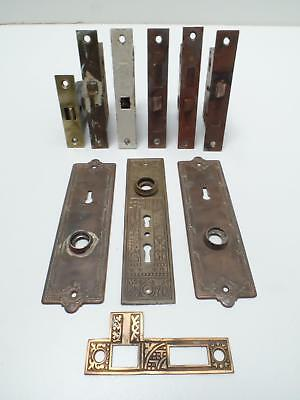 Mortise Locks Skeleton Key Door Knob Plates Hardware Russell & Erwin Vtg Lot 10