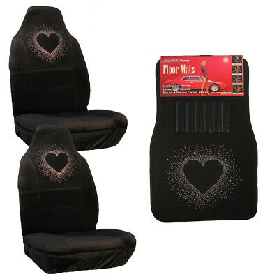 White Bling Heart Crystal Rhinestone Car Truck Floor Mats Seat Covers Combo