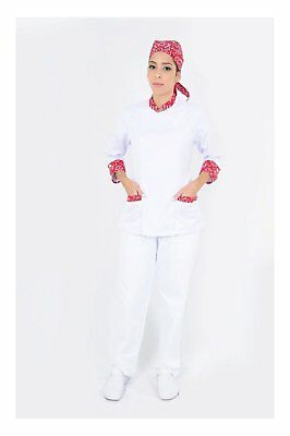 Dam Uniforms Women´s 3/4 Sleeves White Details Red Chef Coat