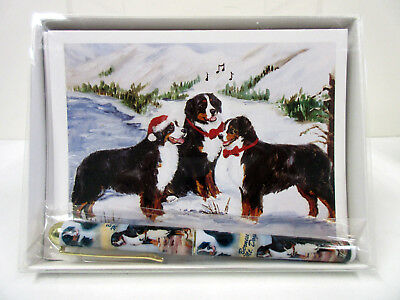 New Bernese Mountain Dog Holiday Greeting Card Designer Pen Set 6 Cards By Ruth