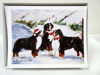 New Bernese Mountain Dog Holiday Greeting Card Set 6 Cards w/ Envelopes By Ruth