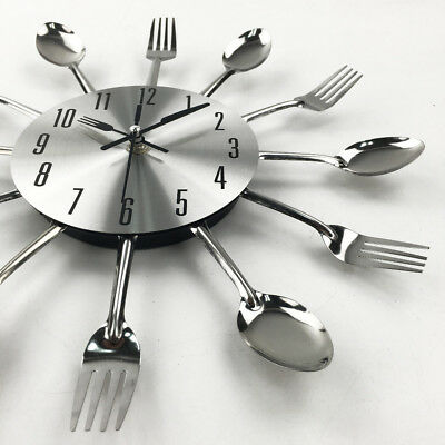 Modern Design Cutlery Spoon Fork Clock Wall Clock Novelty Kitchen Decoration
