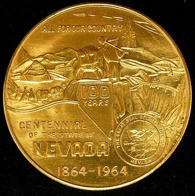1864-1964 NEVADA STATE Centennial Silver Medallion with CC