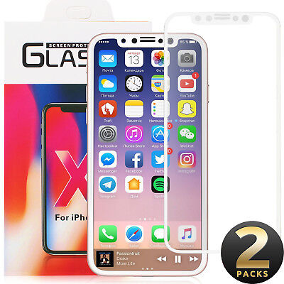 2X Genuine 9H 4D Tempered Glass Screen Protector Apple iPhone X 8 7 Plus 6s 5 5s