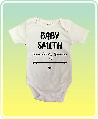 COMING SOON NAME Pregnancy reveal announcement Baby Suit One Piece White