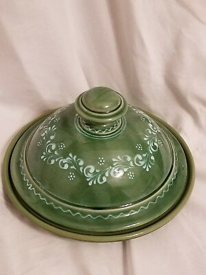 Barakonyi Hungarian Hand Painted Pottery green covered cheese dish Signed