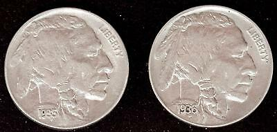 1935-P & 1936-P Indian Head Buffalo Nickel Nice AU