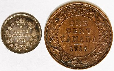 1919 Canada 5 Cent & 1916 Canada One Cent Both are Very Nice Coins