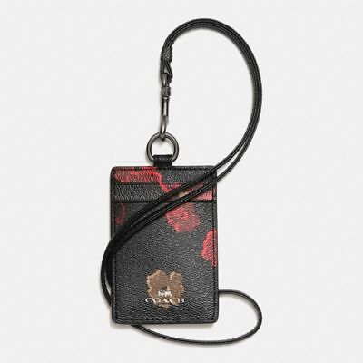 Coach Id Lanyard With Halftone Floral Print