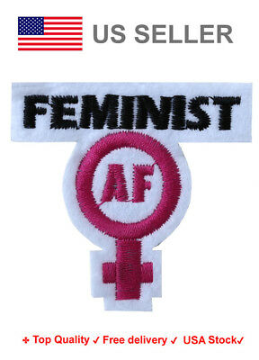 Feminist AF Iron On / Sew On Patches motif Girl power empowerment Embroidery