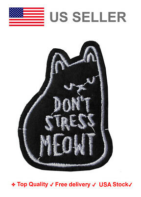 Check meowt Iron On / Sew On Patches motif Cat feline lover Embroidery applique