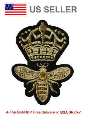 Queen Bee Iron On / Sew On Patches insect motif Embroidery royal crown applique