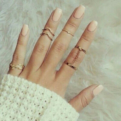 6pcs/Set Rings Urban Gold stack Crystal Above Knuckle Ring Band Midi Ring