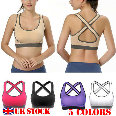 Womens Shock Absorber High Impact Multi Yoga Sports Bra Gym Workout Vest Stretch