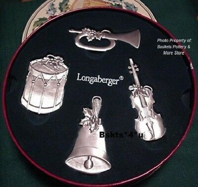 NEW Longaberger PEWTER Ornaments (Drum-Bell-Horn-Violin) + TIN- Sounds of Season