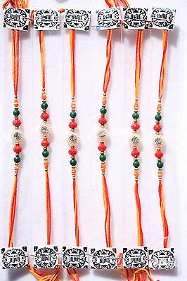 6 Rakhi -Thread Raksha Bandhan Hindu Indian Festival- Diamonte Rakhadi Set of 6