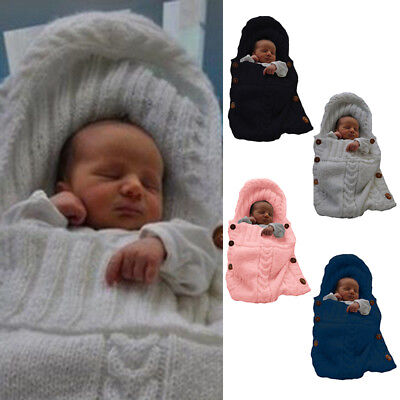 Newborn Baby Infant Knit Crochet Swaddle Wrap Swaddling Blanket Sleeping Bag