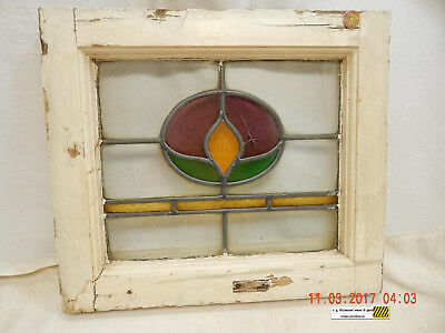 Stained Glass Transom Window-Vintage-Chippy White Frame-Quite Distressed-As Is!