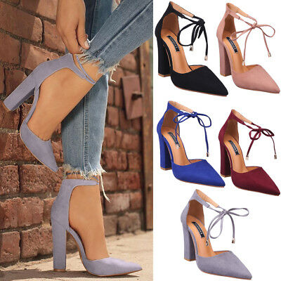 Women High Block High Ankle Strap Sandals Ladies Pointed Toe Party Club Shoes