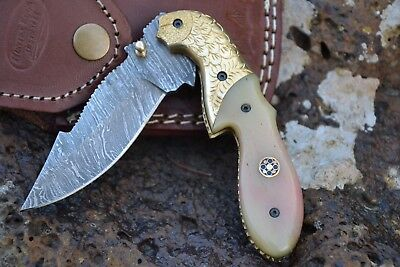 "HUNTEX Handmade Damascus 4"" Long Camel Bonet Hunting Folding Pocket Knife"