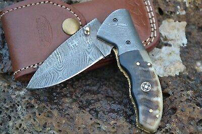 "HUNTEX Handmade Damascus 4"" Long Ram Horn Hunting Folding Pocket Knife"