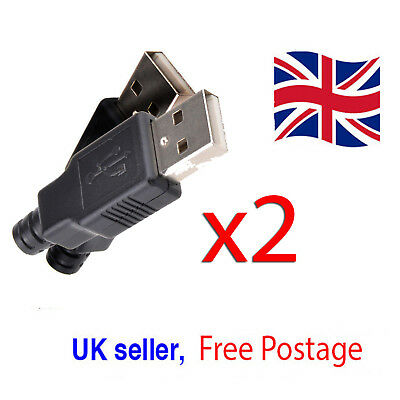 2x USB2.0 Type-A Plug 4-pin male Adapter Connectors Jacks & Black Plastic Covers