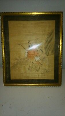 old chinese paintings on silk x 3