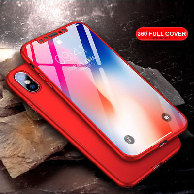 Hybrid 360° Hard Slim Shockproof Case Cover with Tempered Glass For iPhone X 10