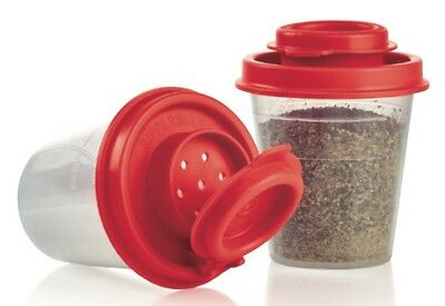 Tupperware Midgets Salt N Pepper Spice Shakers Set (2) Clear & Popsicle Red New