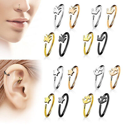 Surgical SteelOpen Nose Ring Hoop Ear Clip Tragus Cartilage Body Piercing Stud