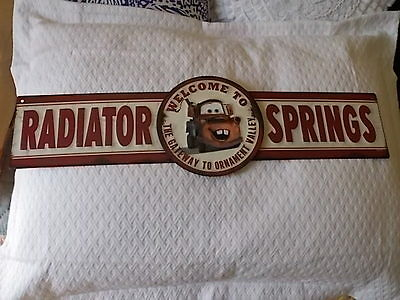 Welcome To Radiator Springs Embossed Metal Sign Towmater Disney Cars*new*