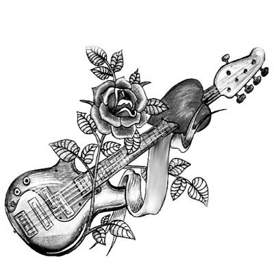 10x6cm Sheet-High-Quality-Fake-Tatto-Rose-Guitar-Waterproof-Party-Cool-Temporary