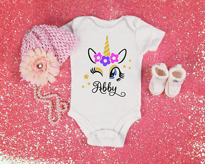 Personalized Unicorn Name Baby Shower Idea  Girl Toddler Clothes Romper Birthday